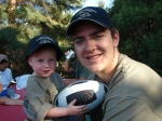 Andrew's 1 year old cousin, Charlie Andrew Porter, and Andrew's brother, Brian, decked out in their tournament hats an