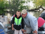 Morgan and Dave Ishii ready to fish.  They placed 3rd in the 10 and under age group.