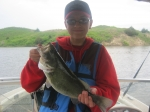 Justin Miller and his largemouth bass.
