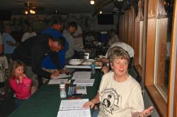 Joni, Andrew's Mom, at the team check-in Friday night for the rules meeting and tournament dinner.
