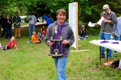 Holden Hupfer, who teamed with his Dad, John, to win 1st place in the 11-17 age division, heaviest northern pike and ove